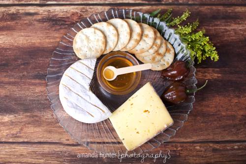 Honey Crackers and Cheese Plate Product Shoot